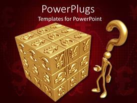 PowerPlugs: PowerPoint template with gold figure and question mark next to cube covered with various currency symbols