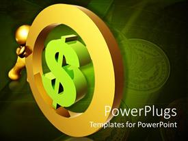 PowerPlugs: PowerPoint template with gold figure rolling dollar sign with stack of coins in background, finance, economy, saving, retirement, wealth management