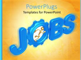 PowerPlugs: PowerPoint template with gold figure running inside a gear in the word jobs