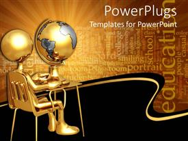 PowerPlugs: PowerPoint template with gold figure sitting at small desk with globe and education word cloud
