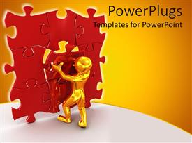 PowerPlugs: PowerPoint template with gold figure struggling to place red piece in center of vertical jigsaw puzzle