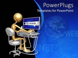 PowerPoint template displaying gold figure using laptop to access internet