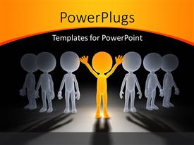 PowerPoint template displaying gold figure in victory pose under spotlight with group of gray figures in shadow