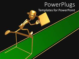 PowerPlugs: PowerPoint template with gold figure wearing hat carrying briefcase jumping over hurtle on green track