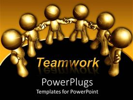 PowerPlugs: PowerPoint template with gold figures holding hands in a circle