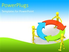 PowerPoint template displaying gold figures holding red, blue, green arrows in circle