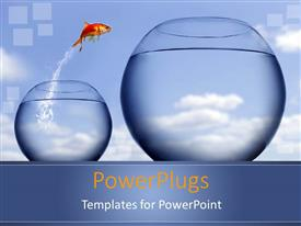 PowerPoint template displaying gold fish jumping into bigger fish tank with blue background