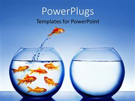PowerPlugs: PowerPoint template with gold fish jumping from full fishbowl to empty bowl