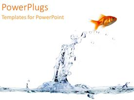 PowerPlugs: PowerPoint template with a gold fish jumping out of the blue water with a white background as a metaphor
