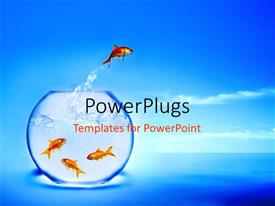 PowerPlugs: PowerPoint template with a gold fish jumping out of a fish bowl into the river