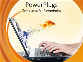 PowerPlugs: PowerPoint template with gold fish from a laptop screen with a human typing