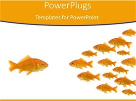 PowerPlugs: PowerPoint template with gold fish leader stands out in crowd orange background