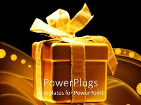 PowerPlugs: PowerPoint template with gold gift box with ribbon and bow on black background