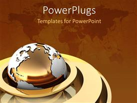 PowerPlugs: PowerPoint template with gold globe continents earth map brown background