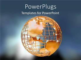 PowerPlugs: PowerPoint template with gold globe of earth on grey background