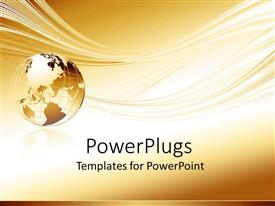 PowerPoint template displaying gold globe of earth with waves in golden background