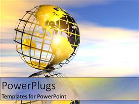 PowerPlugs: PowerPoint template with gold globe in sky sunset