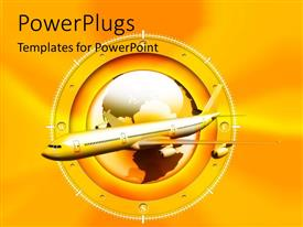 PowerPlugs: PowerPoint template with gold jet plane in front of glossy globe surrounded by compass markings