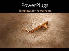 PowerPoint template displaying gold key in beach sand with blurred edges