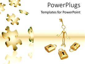 PowerPlugs: PowerPoint template with gold key to locks puzzle pieces problems and solutions white background