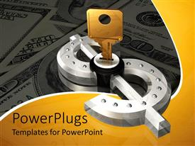 PowerPlugs: PowerPoint template with gold key opening silver dollar sign on background of cash, money, wealth
