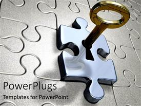 PowerPlugs: PowerPoint template with the gold key unlocking the silver puzzle lock metaphor