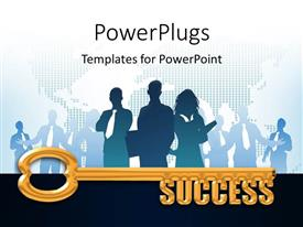 PowerPlugs: PowerPoint template with a gold key with the words Success, business people and map in background
