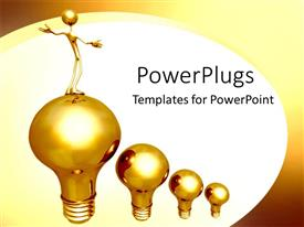PowerPoint template displaying gold light-bulbs rising leader success achievement white background