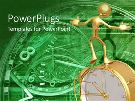 PowerPlugs: PowerPoint template with gold man on clock metaphor old fashioned working gears time green background