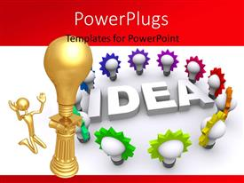 PowerPlugs: PowerPoint template with gold man kneels before gold light bulb on pillar and 3D word IDEA