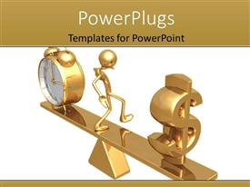 PowerPlugs: PowerPoint template with gold man on weighing balance with alarm clock against dollarsymbol