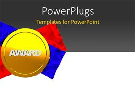 PowerPoint template displaying gold medal award with red and blue ribbon on grey and white surface