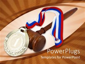 PowerPlugs: PowerPoint template with gold medal with red white and blue ribbon, judge gavel, winner, competition