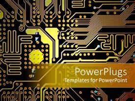 PowerPoint template displaying gold, orange and black circuitboard, technology, computers, electronics