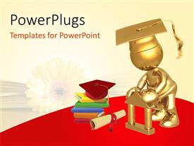 PowerPlugs: PowerPoint template with gold plated 3D graduate with graduation cap and book pile with diploma