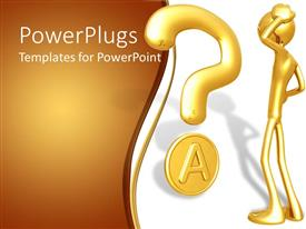 PowerPlugs: PowerPoint template with gold plated 3D man with hand on head and question mark symbol