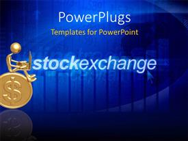 PowerPlugs: PowerPoint template with gold plated 3D man with laptop on blue background with stock chart