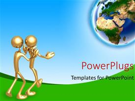 PowerPoint template displaying gold plated 3D man pushing another towards earth globe
