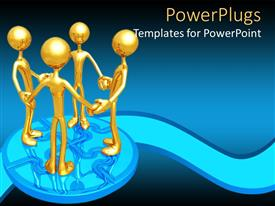 PowerPlugs: PowerPoint template with gold plated 3D men holding hands in unity