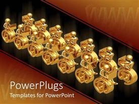 PowerPlugs: PowerPoint template with gold plated 3D men using laptop on email symbol and black background