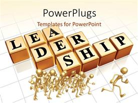 PowerPlugs: PowerPoint template with gold plated 3D people running with cubes depicting leadership