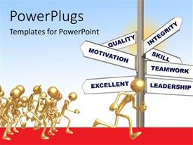 PowerPlugs: PowerPoint template with gold plated 3D me running in the path to leadership