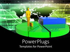 PowerPlugs: PowerPoint template with gold plated business man with briefcase on green pie chart