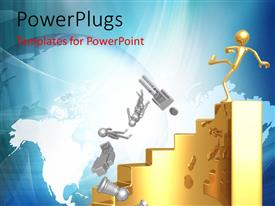 PowerPlugs: PowerPoint template with gold plated business man on golden platform kicks away competition