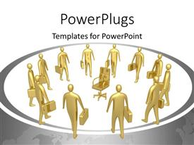 PowerPlugs: PowerPoint template with gold plated business men with briefcases vying for a singular position