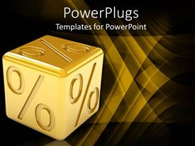PowerPlugs: PowerPoint template with gold plated dice with percentage symbol emblazoned on all sides