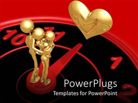 PowerPoint template displaying gold plated family of three on clock with clock hand pointing towards love