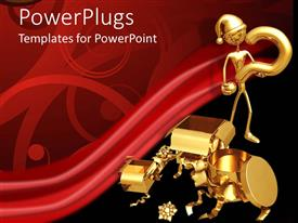 PowerPlugs: PowerPoint template with gold plated man asking questions about a gift package
