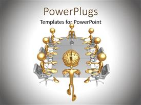 PowerPlugs: PowerPoint template with gold plated man with brains leads conference around conference table