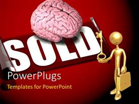 PowerPlugs: PowerPoint template with gold plated man with briefcase holding gold key with brain over SOLD sticker